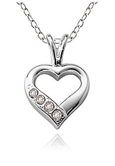 Belk & Co. Children's Sterling Silver Open Heart Cubic Zirconia Pendant