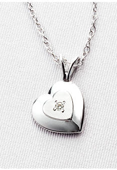 Belk & Co. Children's Sterling Silver Diamond Heart Pendant