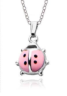 Belk & Co. Children's Sterling Silver and Pink & Black Epoxy Ladybug Pendant
