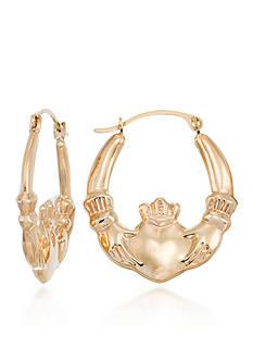 Belk & Co. 10k Yellow Gold Claddagh Hoop Earrings