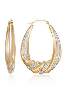 Belk & Co. 10k Yellow Gold Oval Hoop Earrings