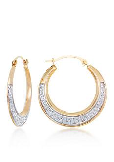 Belk & Co. 10k Two Tone Gold Etruscan Hoop Earrings