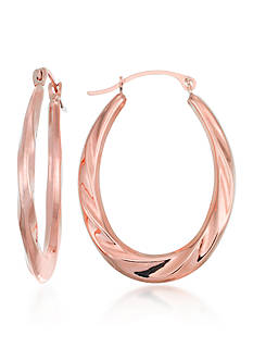 Belk & Co. 10k Rose Gold Oval Hoop Earrings