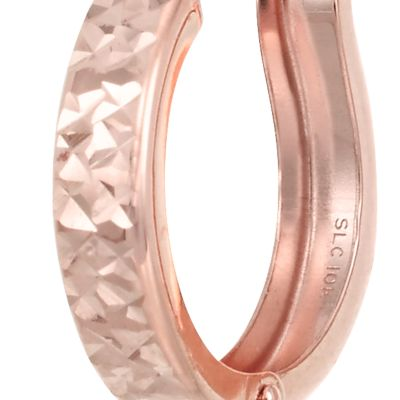 Designer Hoop Earrings: Rose Gold Belk & Co. X-10K YG DIACUT HOOP