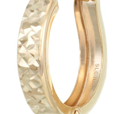 Designer Hoop Earrings: Yellow Gold Belk & Co. X-10K YG DIACUT HOOP