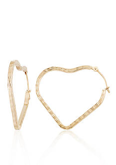 Belk & Co. 14k Yellow Gold Heart Hoop Earrings