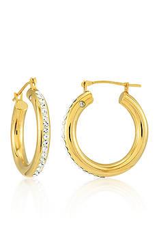 Modern Gold™ 14k Yellow Gold Crystal Hoop Earrings