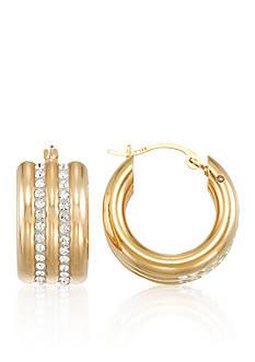 Belk & Co. Multi Crystal with Nano Diamond Resin Hoop Earrings set in 14K Yellow Gold