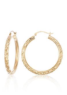 Modern Gold™ 14K Yellow Gold Diamond Cut Hoop with Nano Diamond Resin Earrings
