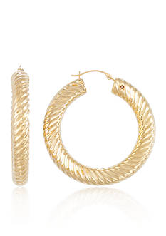 Belk & Co. Large Ribbed Nano Hoop Earrings set in 14K Yellow Gold