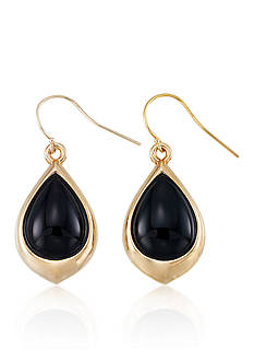 Belk & Co. Onyx Teardrop Earrings in 14k Yellow Gold