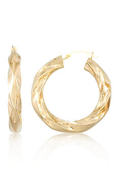 Belk & Co. 14K Large Nano Twist Hoop Earrings