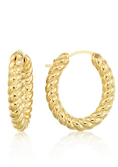 Modern Gold™ 14k Yellow Gold Textured Hoop Earrings