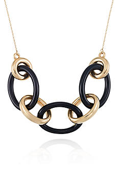Belk & Co. Onyx Link Necklace in 14k Yellow Gold