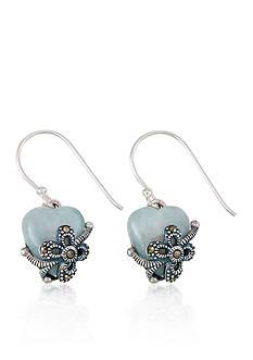 Belk & Co. Marcasite and Jade Heart Drop Earrings in Sterling Silver