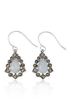 Belk & Co. Genuine Marcasite and Jade Teardrop Earrings in Sterling Silver