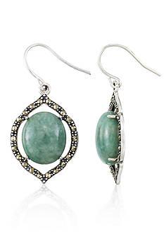 Belk & Co. Marcasite and Jade Sterling Silver Oval Earrings
