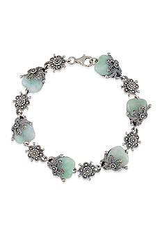 Belk & Co. Marcasite and Jade Floral Bracelet