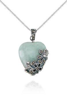Belk & Co. Marcasite and Jade Heart Shaped Pendant