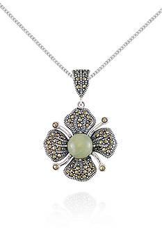 Belk & Co. Marcasite and Jade Flower Pendant