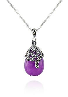 Belk & Co. Marcasite and Purple Agate Sterling Silver Teardrop Floral Pendant