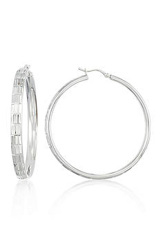 Belk & Co. Sterling Silver Bamboo Hoop Earrings