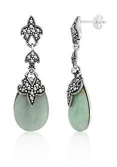Belk & Co. Genuine Marcasite and Jade Teardrop Post Earrings in Sterling Silver