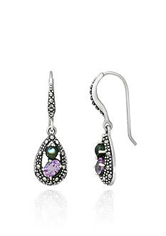 Belk & Co. Genuine Marcasite, Abalone, and Amethyst Teardrop Drop Earrings in Sterling Silver