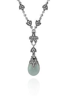 Belk & Co. Genuine Marcasite and Jade Teardrop Y Necklace in Sterling Silver