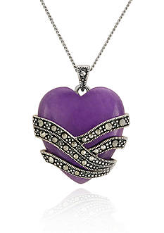 Belk & Co. Genuine Marcasite and Purple Agate Heart Pendant in Sterling Silver