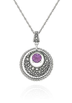 Belk & Co. Genuine Marcasite and Amethyst Circle Pendant in Sterling Silver