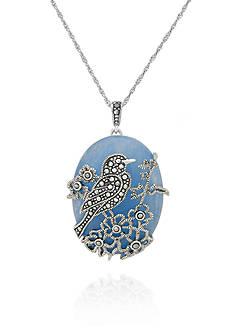 Belk & Co. Genuine Marcasite and Blue Jade Bird Pendant in Sterling Silver