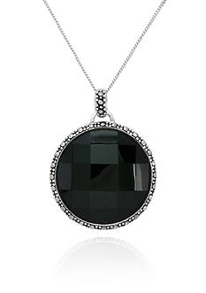 Belk & Co. Genuine Marcasite and Black Agate Faceted Circle Pendant in Sterling Silver