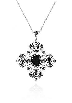 Belk & Co. Genuine Marcasite and Black Agate Fancy Cross Pendant in Sterling Silver