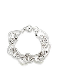 Modern Silver™ Sterling Silver Oval Interlocking Link Bracelet