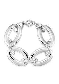 Modern Silver™ Oval Link Nano Diamond Resin Bracelet in Sterling Silver