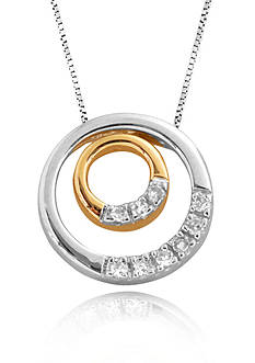 Belk & Co. Diamond Circle Pendant in Sterling Silver with 14k Yellow Gold