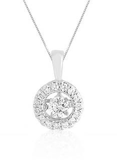 Move My Heart Diamond Circle Pendant in 10k White Gold