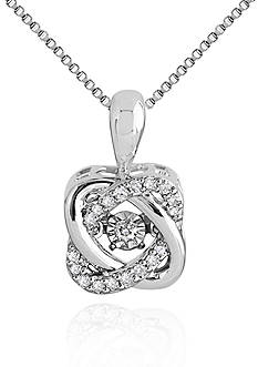 Move My Heart Moving Diamond Knot Pendant set in Sterling Silver