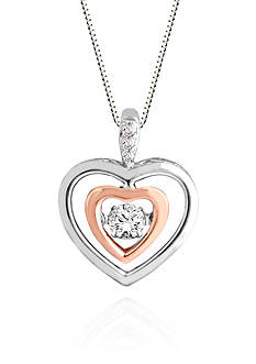 Move My Heart Diamond Heart Pendant in 10k White Gold with 10k Rose Gold