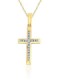 Belk & Co. Diamond Cross Pendant in 10k Yellow Gold