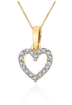 Belk & Co. Diamond Mini Heart Pendant in 10k Yellow Gold
