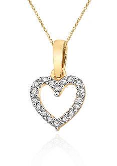 Belk & Co. Diamond Mini Heart Pendant in 10k Yellow Gold