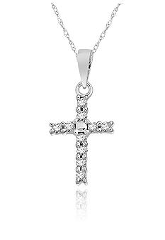 Belk & Co. Diamond Mini Cross Pendant in 10k White Gold