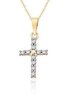 Belk & Co. Diamond Mini Cross Pendant in 10k Yellow Gold