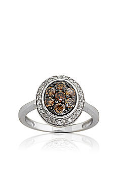 Belk & Co. Mocha & White Diamond Ring in 10k Gold