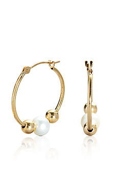 Belk & Co. 14k Yellow Gold 5mm Pearl and 4mm Gold Bead Hoop Earrings