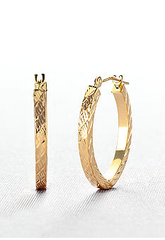 Belk & Co. 14k Oval Diamond Cut Hoop Earrings