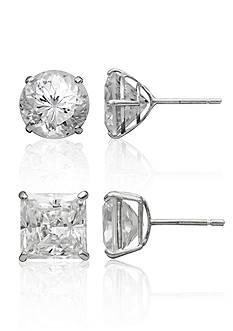 Belk & Co. Set of Cubic Zirconia Stud Earrings in 14k White Gold