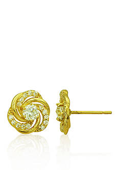 Belk & Co. Cubic Zirconia Swirl Earrings in 14k Yellow Gold